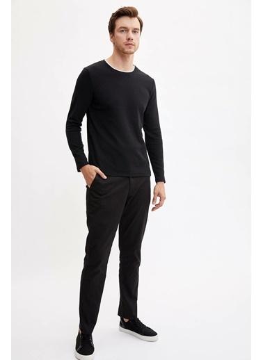 DeFacto Slim Fit Örme Sweatshirt Siyah